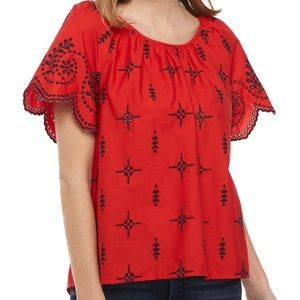 Crown & Ivy Short Sleeved Scalloped Top
